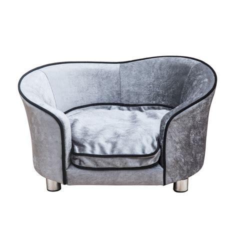 dog chair beds pawhut pet sofa plush light grey aosom co uk