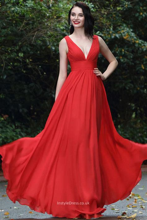 long red promotion dress simple red deep v neck sleeveless a line long chiffon prom