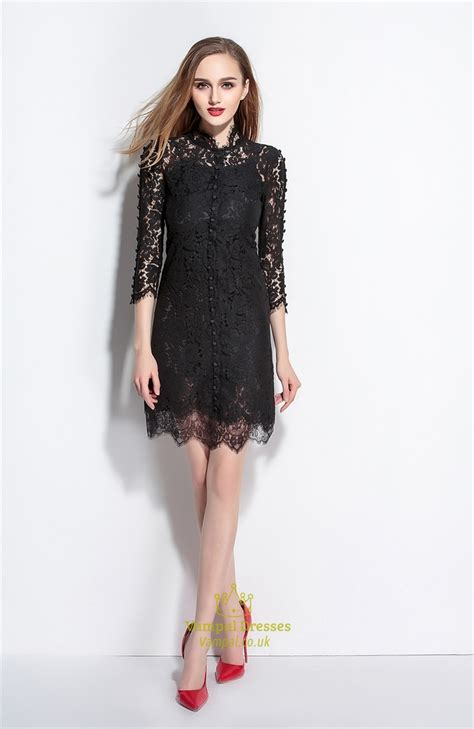 3 4 Sleeve Lace A Line Mini Dress black lace high neck a line dress with 3 4 sleeves
