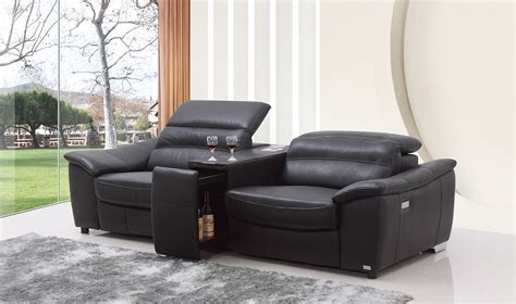 Modern Leather Sofa Recliner Divani Casa Donovan Modern Black Italian Leather Recliner Sofa With Wine Cabinet