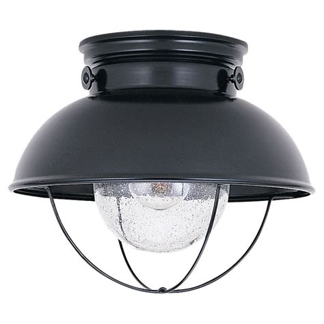 Exterior Ceiling Light Fixtures Sea Gull Lighting 8869 12 Black Sebring 1 Light Outdoor Flush Mount Ceiling Fixture