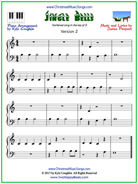 printable version of jingle bells jingle bells for piano short version free sheet music