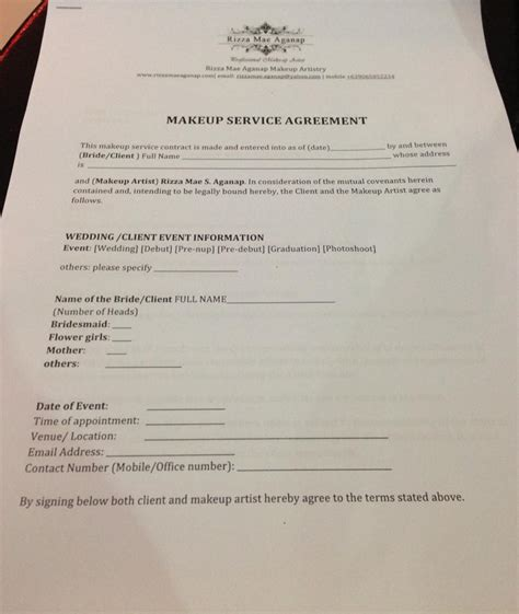makeup service agreement form rizza mae aganap