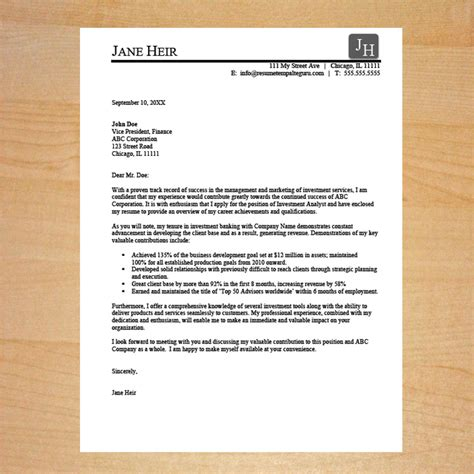 sales cover letter template