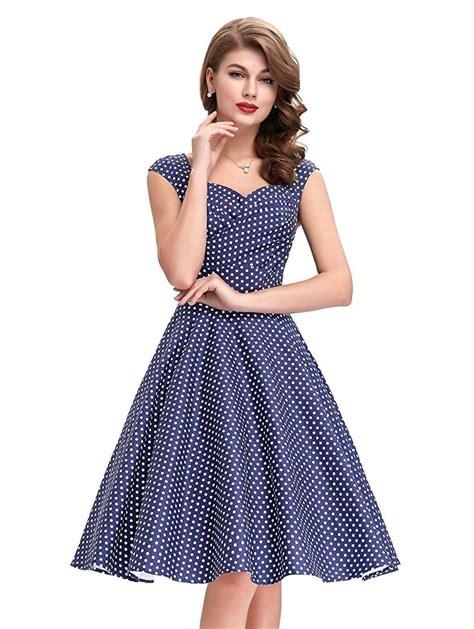 Dress Polka White Blue navy blue polka dot dress 1950sglam