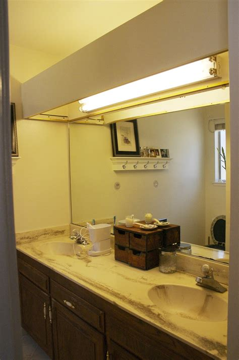 bathroom in a box old counter tops with ugly big fluorescent light box