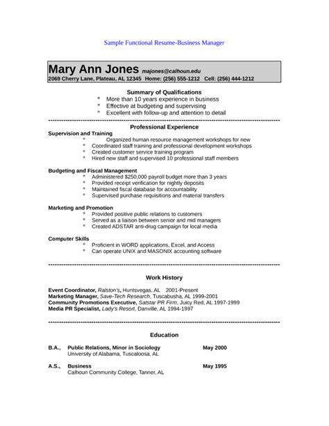 functional public relations manager resume template
