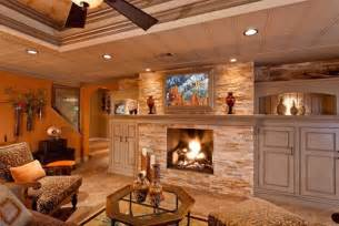 rustic finished basement ideas rustic basement ideas with fireplaces