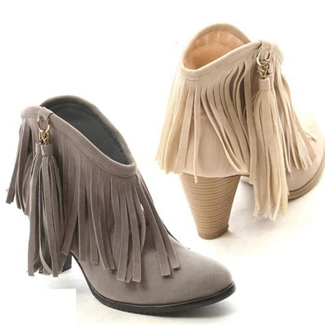 Winter Shoes Top Shoes With Fringe Tassels And Ruffles by Autumn Winter Ankle Boots High Heel Fringe Boot