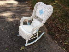 charming white wicker white wicker rocking chair with blue trim attainable vintage