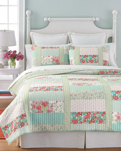 Aqua Quilt Bedding Aqua Coral Patchwork Posey Quilt Everything Turquoise
