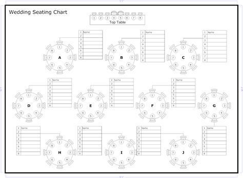 wedding guest seating chart template free printable seating chart template for
