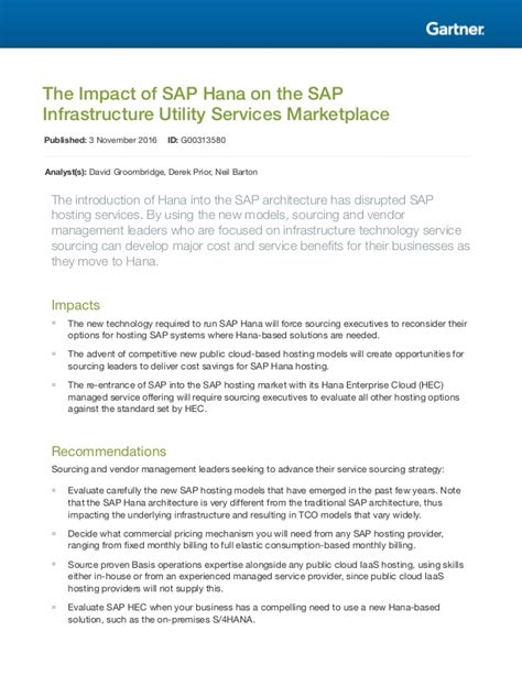 Https Www Slideshare Net Fmisbell Sap Mba Impact Overview 2016 by The Impact Of Sap Hana On The Sap Infrastructure Utility