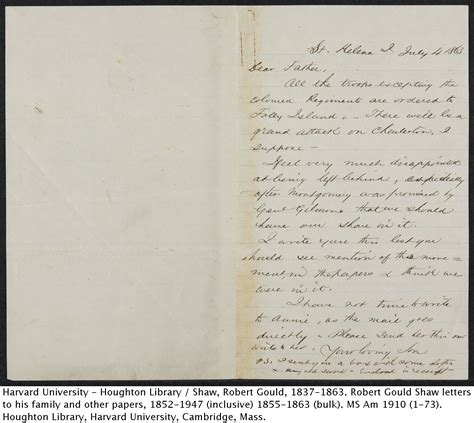 Gift Letter Ma If I Should Fall Remember What You See Here Robert Gould Shaw S Letters Digitized Modern Books