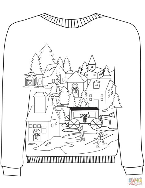 printable ugly christmas sweater christmas ugly sweater with a village motif coloring page