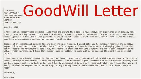 Credit Report Letter Of Goodwill May 2015 Sles Business Letters