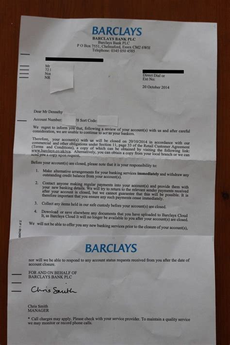 Barclays Letter Of Credit Barclays Terminated My Account And Froze My Assets Without Warning Or Explanation In A