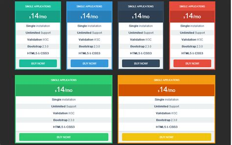 pinterest style layout bootstrap pricing tables bootstrap responsive by bootstraptor on