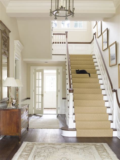 entryway stairs gray stair runner country entrance foyer