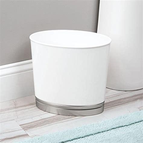 brushed nickel wastebasket bathroom interdesign oval waste basket trash can for bathroom