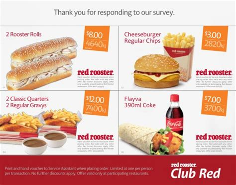 red hot vouchers red rooster vouchers cheeseburger chips for 3 and
