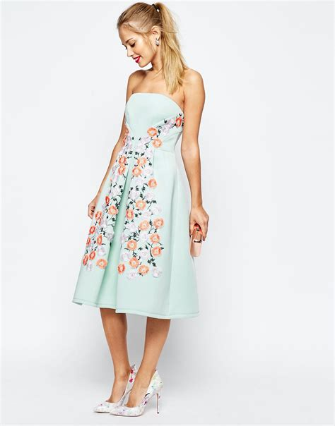 Dresses For All Seasons From Salonkitty by Asos Salon Floral Embroidered Bandeau Midi Prom Dress In