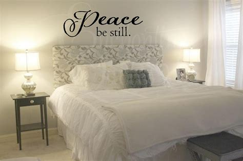 headboard quotes peace be still vinyl wall quotes for master bedroom or