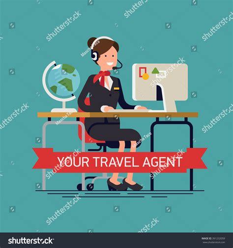 traveler help desk flights your travel agent vector concept background stock vector