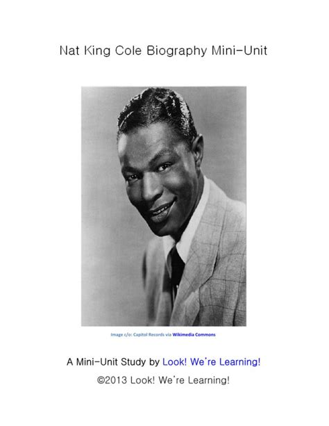 unit 7 biography and autobiography nat king cole biography mini unit we minis and learning