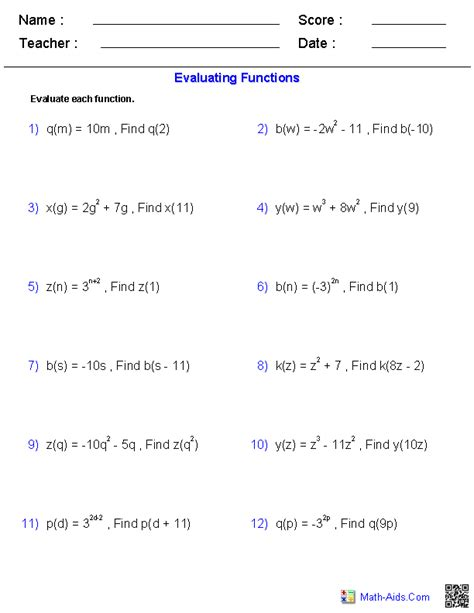 Function Operations Worksheet Answers by Algebra 2 Worksheets General Functions Worksheets