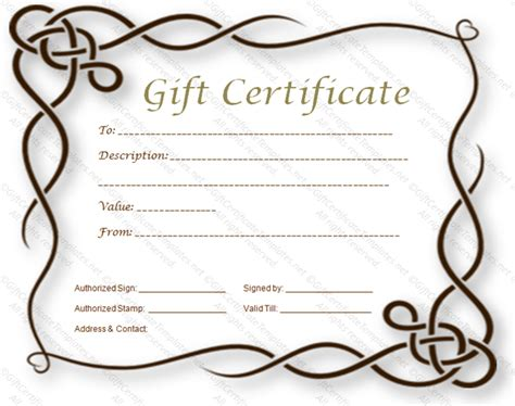 permalink to formal gift certificate template