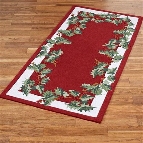holly border hooked christmas area rugs