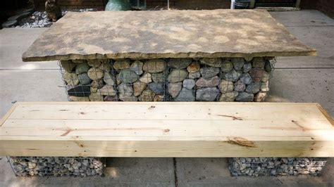 wood and stone bench gabion table with stone top gabion bench with wood slab