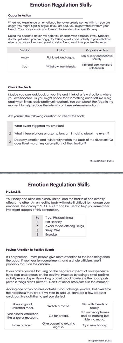 Emotional Regulation Worksheets by Dbt Emotion Regulation Skills Worksheet Therapist Aid