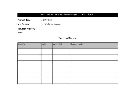software requirements specification template excel