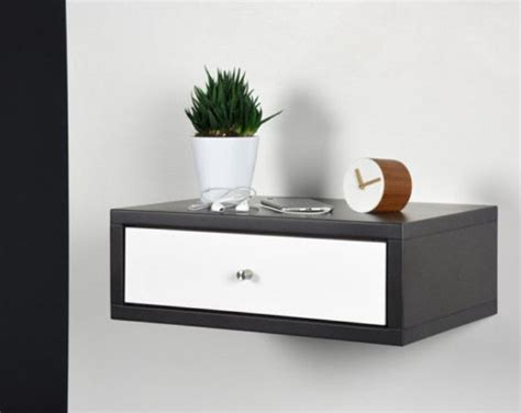 lade a muro moderne floating nightstand with drawer modern gray