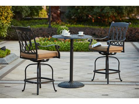 darlee cast aluminum outdoor patio round square bar stool darlee outdoor living standard capri cast aluminum 3 piece