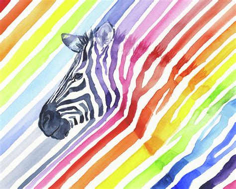 zebra pattern for painting rainbow zebra pattern painting by olga shvartsur