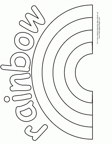 rainbow coloring page kindergarten rainbow coloring pages for preschool coloring home