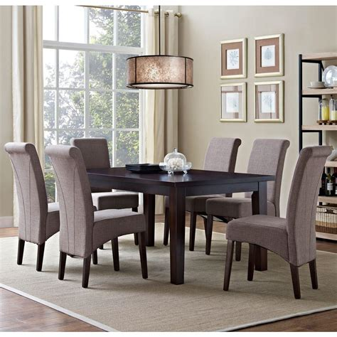 simpli home acadian 7 light mocha dining set simpli home avalon 7 light mocha dining set axcds7 avl lml the home depot