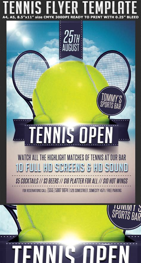 sports flyers templates tennis flyer template flyerstemplates