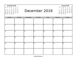Calendar For 2018 December December 2018 Calendar Free Printable Allfreeprintable