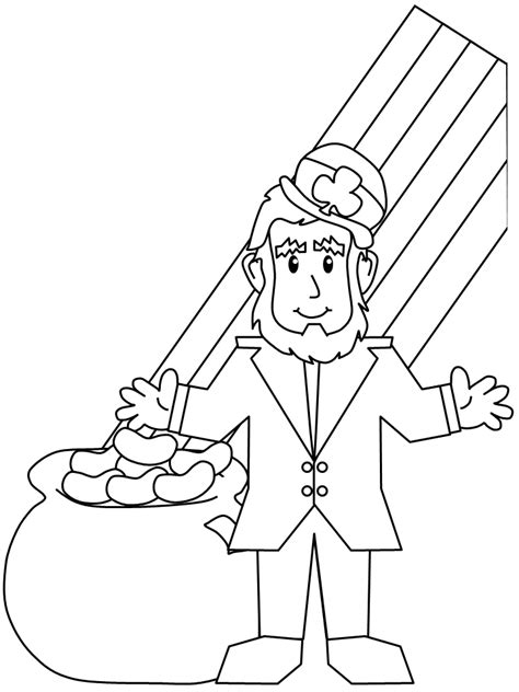 gold star coloring page leprechaun and rainbow and pot of gold coloring pages