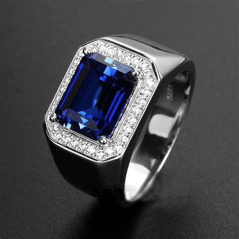 Blue Safir With Ring mens sapphire ring with side diamonds blue corundum 925