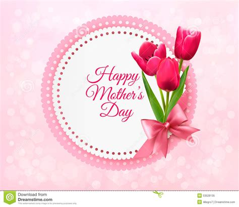 Mothers Day Gift Cards - pink tulips with happy mother s day gift card stock vector illustration of floral