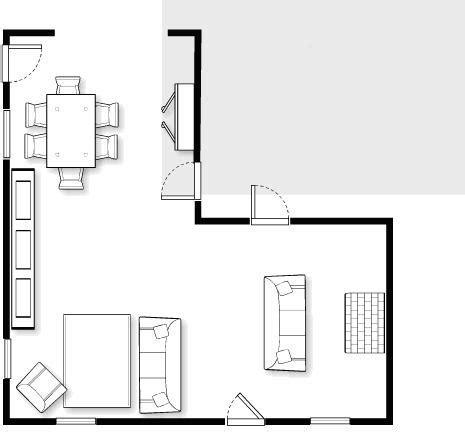 shaped living dining room design problem