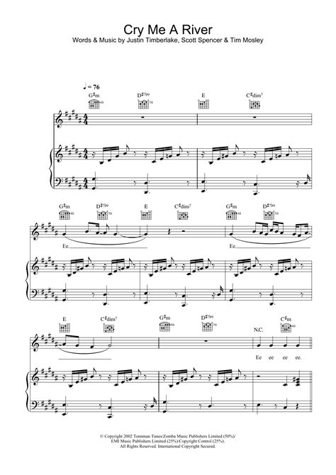 Justin Timberlake - Cry Me A River at Stanton's Sheet Music