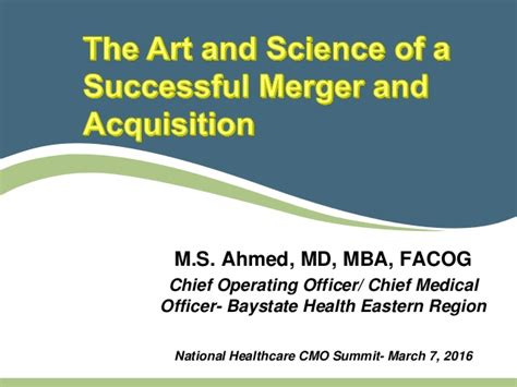 Mergers And Acquisitions Ppt For Mba by The And Science Of A Successful Merger And Acquisition
