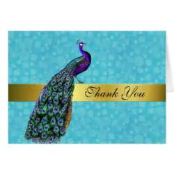chic colorful peacock thank you card zazzle