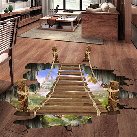 3d floor wall sticker removable bridge mural decals vinyl